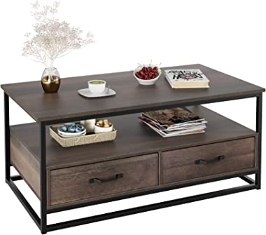 "HOMECHO Industrial Coffee Table 43"", Wood and Metal Cocktail Table with Storage Shelf and 2 Drawers for Living Room, Rustic B"