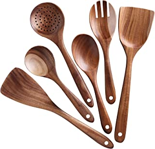 Yesland 6 Pack Wooden Spoons for Cooking - Natural Kitchen Utensils Set - Smooth Finish Teak Wood Cooking Spatulas & Fork,...