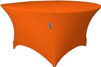 LA Linen Round Spandex Tablecloth, 60 by 30-Inch, Orange