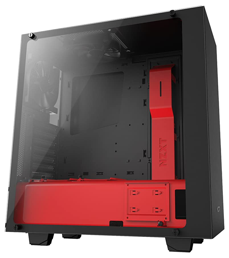 NZXT CA-S340W-B4 High Performance Gaming Case with VR Support - Red