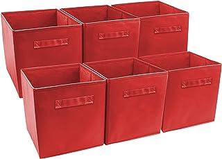 Sorbier Pliable Cube de Rangement Panier Bin (Lot de 6, Rouge)