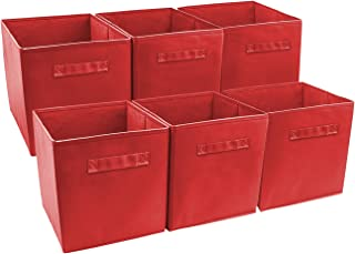 Sorbus Set of 6 Cube Storage Bin, Red