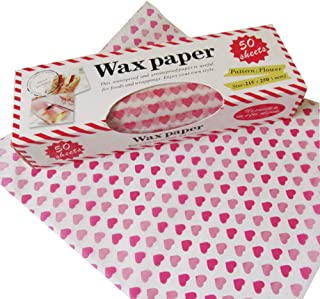 Wax Paper,Wax Paper Sheets,Greaseproof Paper,50 Sheets Waterproof Food Paper Liners/Wrapping Tissue For Plasic Food Basket By Cydnlive (Heart)