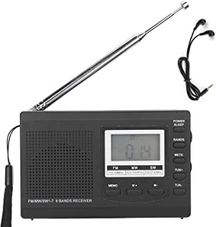 Draagbare Radio, HRD-310 Draagbare Radio Mini-stereo FM/MW/SW-ontvanger MP3-speler Lcd-scherm met Digitale Klok 3,5 Mm Kop...