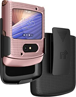 Case with Clip for Motorola RAZR 5G Flip Phone, Nakedcellphone [Rose Gold Pink] Hard Shell Slim Cover with [Rotating/Ratch...