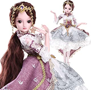 Funnybuy BJD Doll, 1/3 SD Dolls 23.6 Inch 19 Ball Jointed Doll with Full Set Clothes Shoes Wig Makeup DIY Toys , Cosplay Fashion Dolls Girls Gift -Blanche