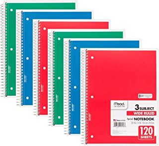 Mead Spiral Notebook, Wide Ruled, 3 Subject, 120 Sheets, 10.5