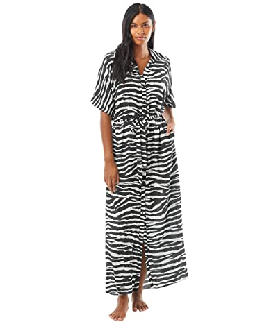 Vince Camuto Zebra Belted Maxi Dress Cover-Up