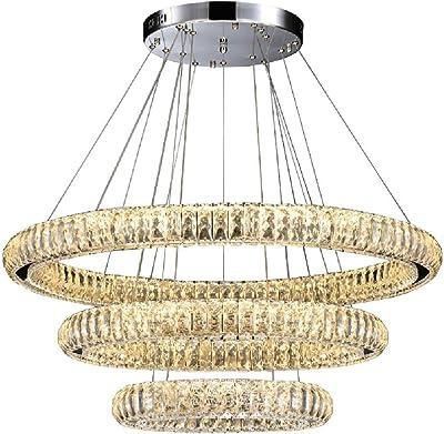 ZQH LED Cristal Colgante de luz, Moderno Anillo Cristal Candelabro Creativo 3 Vueltas Lámpara de Techo Accesorio Sala Restaurante Hotel Oficina Decoración Lámpara Colgante,3circles30+50+70CM