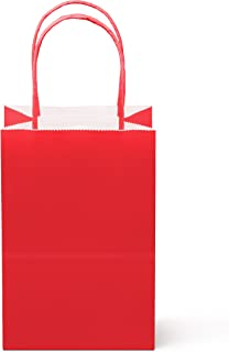 """12 Counts Food Safe Premium Paper and Ink Small 8.5"""" X 5.25"""", Vivid Colored Kraft Bag with Colored Sturdy Handle, Perfect for Goodie Favor DIY Bag, Environmentally Safe (Small, Red)"""