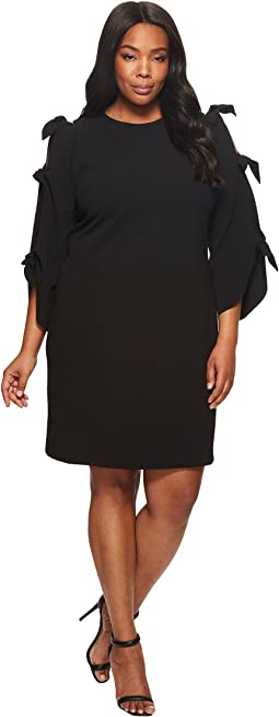Vince Camuto Specialty Size - Plus Size Tie Bell Sleeve Crepe Ponte Dress