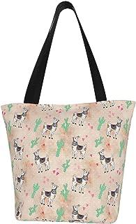 Quintion Cooper Llama, bedruckte Damen-Handtasche mit Reißverschluss, Apricot Kaktus