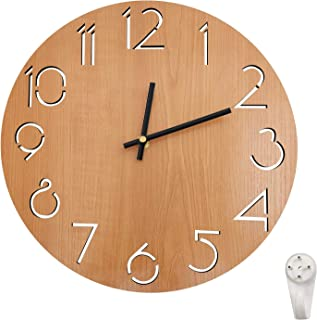 The B-Style TB Wall Clock 12 Inch Battery Operated Silent Non Ticking Clocks for Living Room Kitchen Home Office (Wood-B)