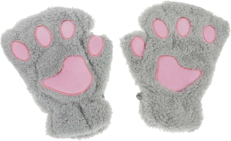 APAS Women Winter Fluffy Bear Cat Plush Paw Claw Glove Half Finger Cute Gloves Mittens