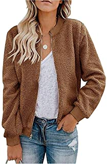 MIROL Women's Sherpa Fleece Jacket Faux Fuzzy Long Sleeve Casual Zip Up Bomber Coat