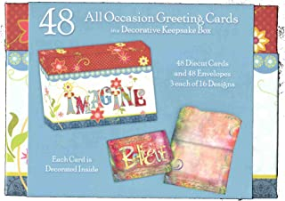 48 Assorted 4x6-inch Die-cut All Occasion Greeting Cards in a Decorative Keepsake Box