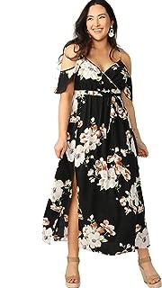 Women's Plus Size Cold Shoulder Floral Slit Hem Tropical Summer Maxi Dress