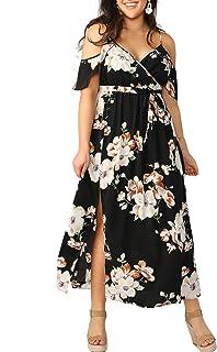 Women Plus Size Cold Shoulder Floral Maxi Bohemian Split Dress