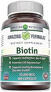 Amazing Formulas Biotin - 10000 MCG, 400 Capsules (Non-GMO,Gluten Free) - Supports Healthy Hair, Skin & Nails - Promotes C...