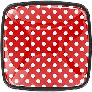 Tissu Pois Blancs Rouges Boutons D'armoire 4 Pcs Poignés Poignée De Champignons Boutons D'aluminium Porte Poignées avec Vi...