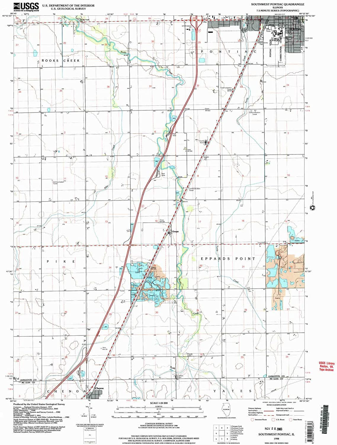 Southwest Pontiac IL topo map, 1 24000 Scale, 7.5 X 7.5 Minute, Historical, 1998, Updated 2003, 27 x 22 in