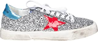 Golden Goose Women's Sneakers May Glitter/RedStar G31WS127.G9 (Size: 35)