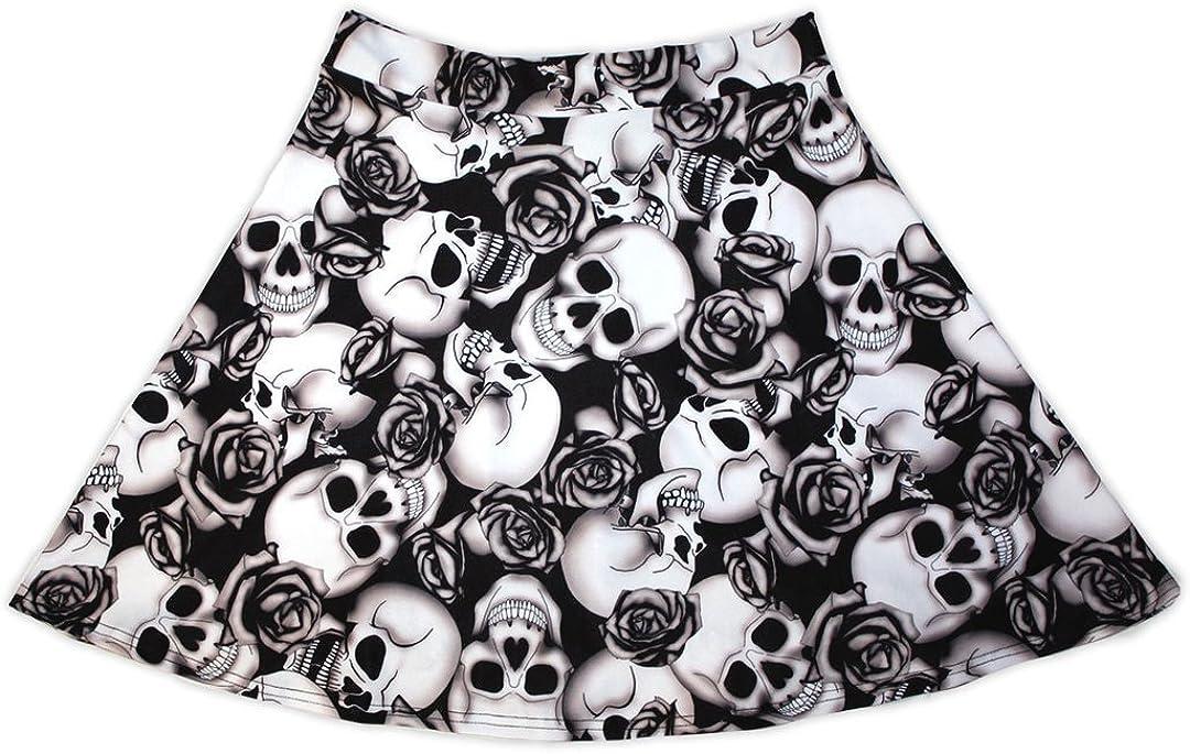 Insanity Womens Skull Roses Shaded Tattoo Print Skater Skirt