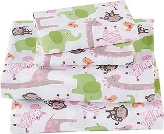Full Size 4pc Sheet Set Girls Monkey Elephant Zebra Giraffe White Green Pink