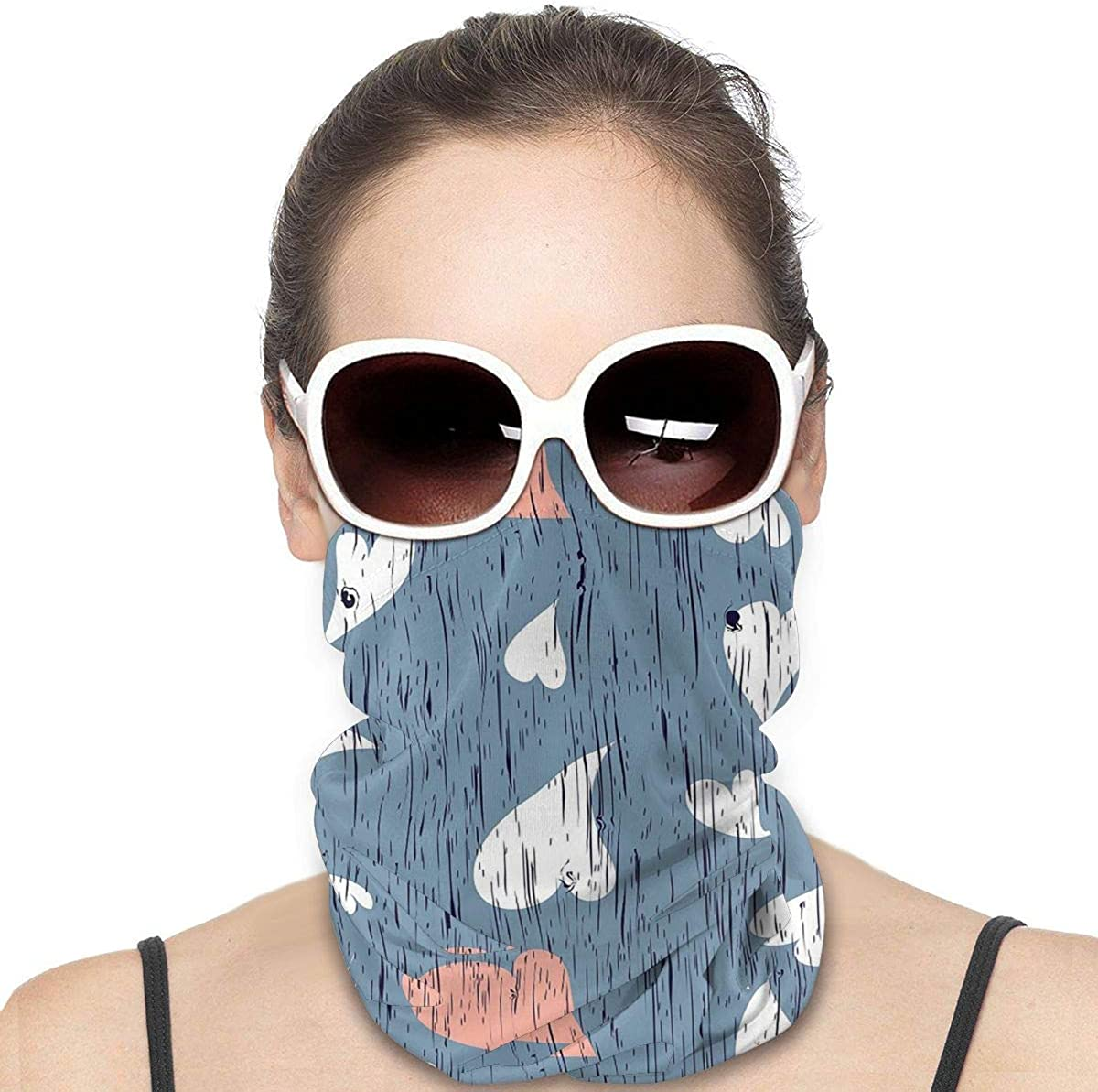 KiuLoam Women Bandanas Face Mask, Heart Shaped Wood Texture Neck Gaiter Mask Headband for Men Face Scarf Dust, Outdoors, Sports