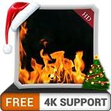 無料の黄色い暖炉の雰囲気-HDR 4Kテレビ、8Kテレビ、火のデバイスで、クリスマス休暇の寒い冬の夜を壁紙と調停と平和のテーマとしてお楽しみください