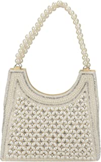 Indian Style Pearl Tote Bag Wrist Bag Evening Clutch Wedding Purse for Women & Girls