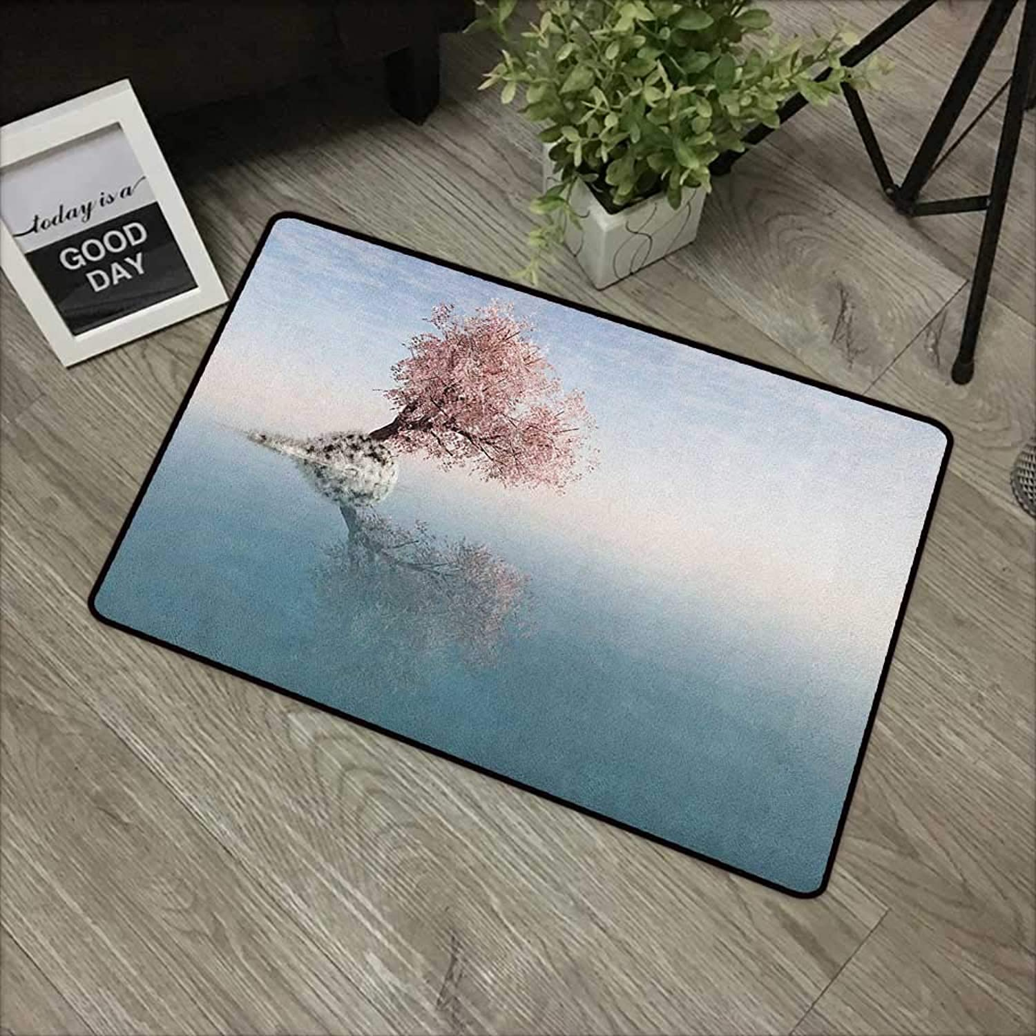 Bedroom Door mat W35 x L59 INCH Tree,A Flower Tree in The Middle of Lake with Reflection in The Water Magical Scenic View, Teal Pink Non-Slip, with Non-Slip Backing,Non-Slip Door Mat Carpet