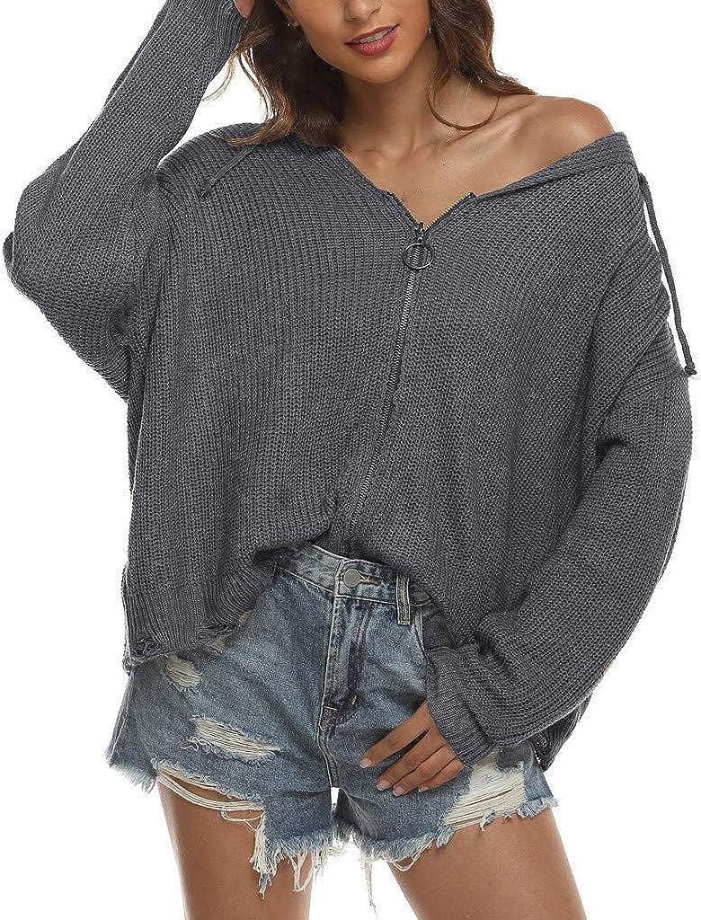 Vickyleb Cardigan Sweaters for Women Women's Loose Open Front Long Sleeve Knit Cardigans Sweater Zip Up Hoodie
