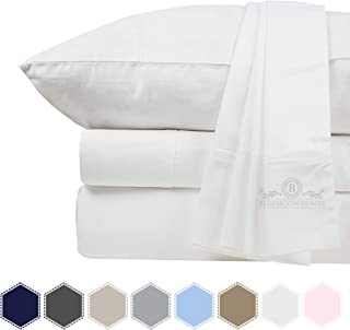 Bluemoon Homes 800 Thread Count 100% Egyptian Cotton 4 PC Solid Pattern Bed Sheet Set, Long Staple Combed Cotton for Soft & Silky Sateen Weave, Fits Mattress Upto 18'' DEEP Pocket (White, King)