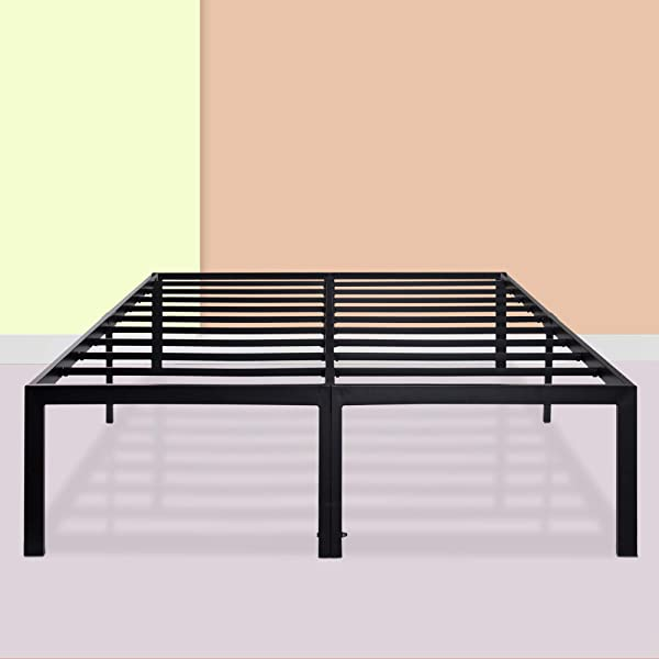 PrimaSleep 18 Inch Ultimate Strength High Profile Heavy Duty Steel Slat Anti Slip Extra Support Easy Assembly Mattress Foundation Noise Free No Box Spring Needed Black California King