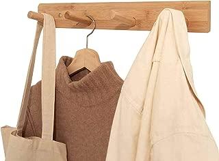 Modern Wall-Mounted Bamboo 4-Peg Entryway Coat Rack, Towel Rack, Bathroom & Accessories Storage