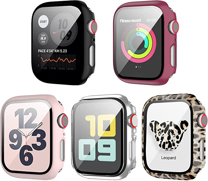 5 Pack Case with Tempered Glass Screen Protector for Apple Watch 38mm Series 3 Series 2,JZK Hard PC HD Full Cover Leopard Sunflower Pattern Protective Guard Bumper for iwatch 38mm Accessories