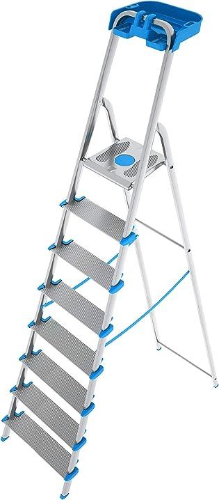 Scala in alluminio 8 gradini xl con porta oggetti, 100% alluminio anodizzato colombo SCALA8GRALP