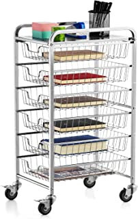 Bextsware 6-Tier Rolling Storage Cart with 6 Sliding Drawers on Lockable Wheels, Kitchen Bar Office Full-Metal Craft Cart Organizer, Chrome