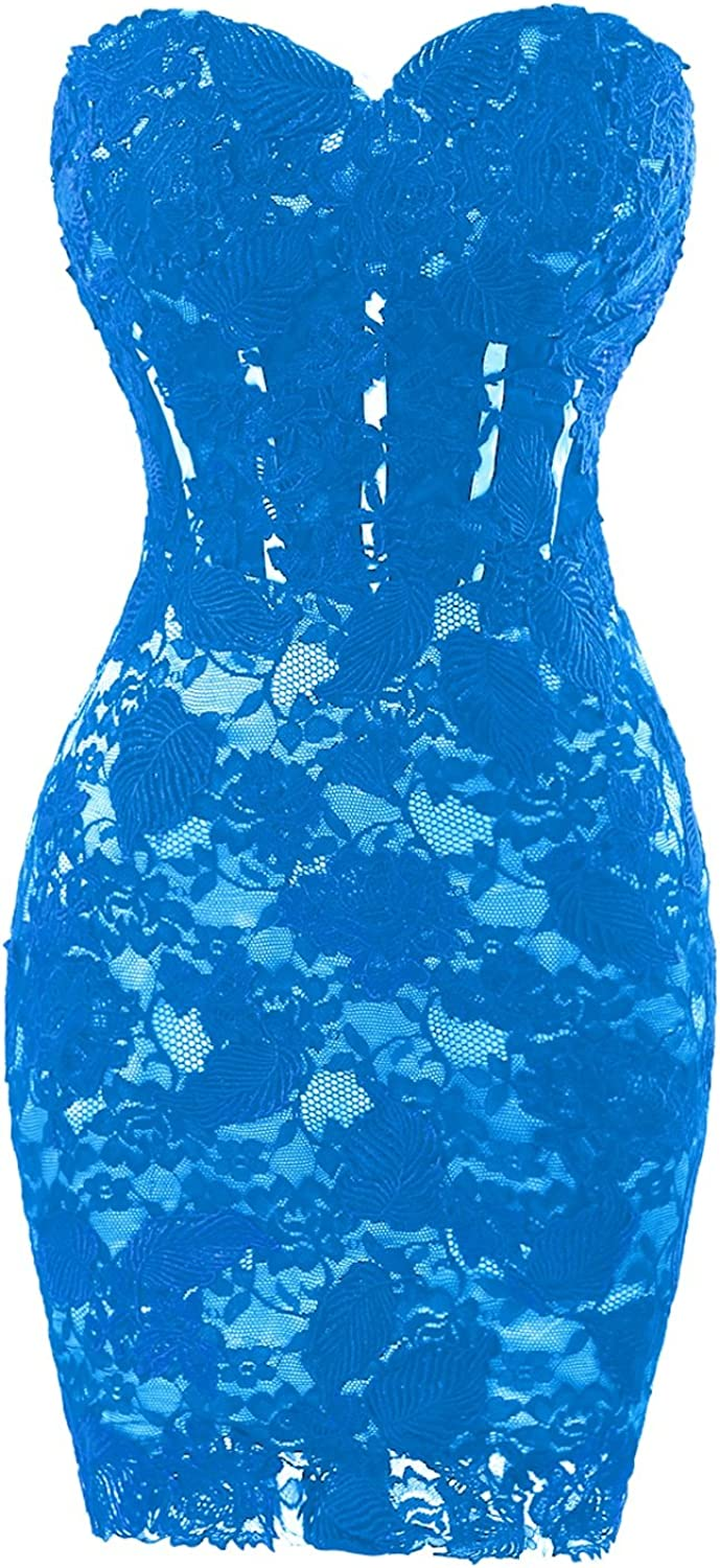 Dasior Women's Sweetheart Short Lace Sheath Appliqued Cocktail Party Dress