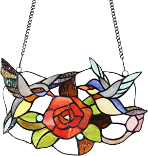 MELUCEE Tiffany Stained Glass Window Panel 13 Inches Wide with 33 Inches Chain