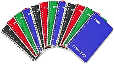 """Memo Book, College Ruled, 5"""" x 3"""", Wirebound, 60 Sheets, Assorted colors, 24 Pack by Mead"""
