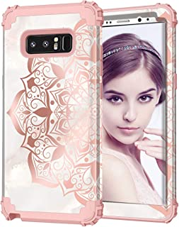 ZHK Galaxy Note 8 Case, Flower 3 Layer Shockproof Heavy Duty Full Body Protection Case Luxury Women Cover Stylish Girls Rubber Armor Protective Case for Galaxy Note 8 (2017) Rose Mandara