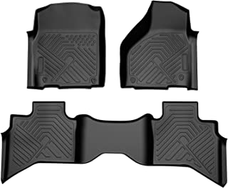 COOLSHARK Dodge Ram 1500 Floor Mats, Floor Liners Custom Fit for 2013-2018 Dodge Ram 1500 Quad Cab (2 and a Half Size Doors),Front and Rear Row Included,All Weather Protection, Black