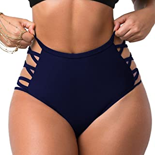 Women Sexy Bikini Bottoms Lace Strappy Sides High Waisted Retro Bathing Suit Underwear Swimsuit