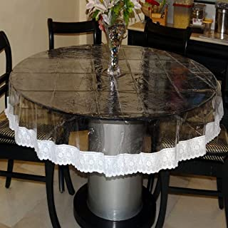 Griiham PVC 4 Seater 100 GSM Round Transparent Table Cover with Assorted Coloured Heavy Lace Border (Transparent, 60-inch)