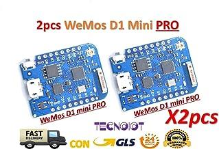 TECNOIOT 2pcs 16M Bytes External Antenna Connector ESP8266 WiFi Board Compatible with WEMOS D1 Mini Pro