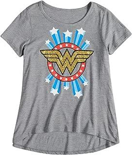 Girls T-Shirt Wonder Woman Logo Glitter Print