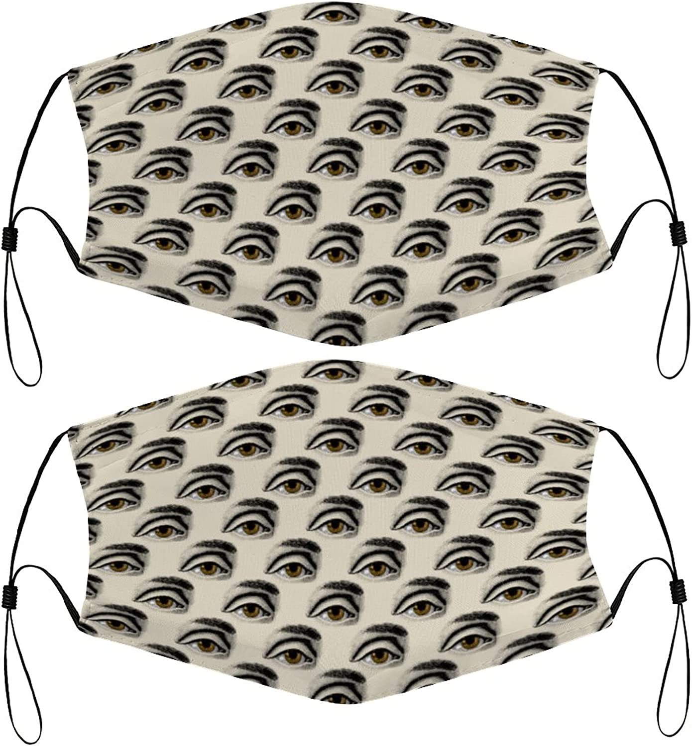 Eyes Pattern Kids Face Masks Set of 2 with 4 Filters Washable Reusable Breathable Black Cloth Bandanas Scarf for Unisex Boys Girls