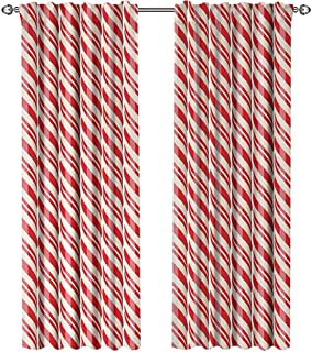 youpinnong Candy Cane, Curtains Insulated, Red Christmas Candies Pattern with Diagonal Stripes Traditional Winter Sweets, Curtains for Sliding Glass Door, W84 x L84 Inch, Red Cream
